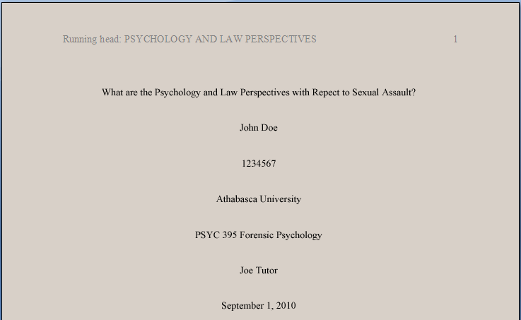 Apa style title page for student papers on sexual harassment